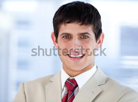 положительный бизнесмен заседание команда бизнеса счастливым Сток-фото © wavebreak_media