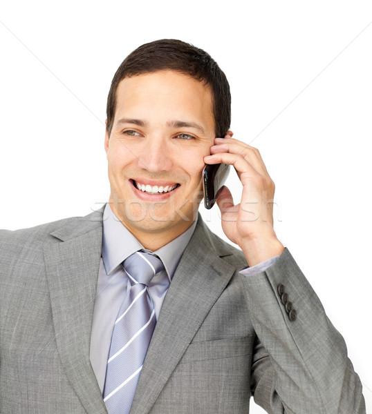 Tolakodó férfi igazgató telefon fehér üzlet Stock fotó © wavebreak_media