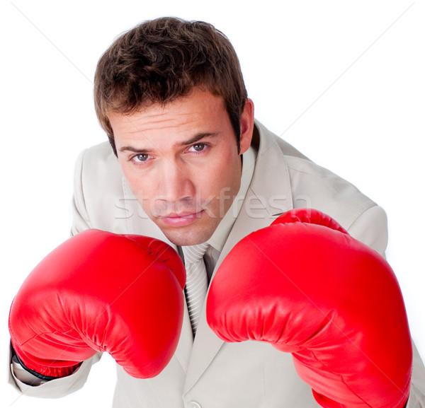Zakenman bokshandschoenen hand sport pak portret Stockfoto © wavebreak_media