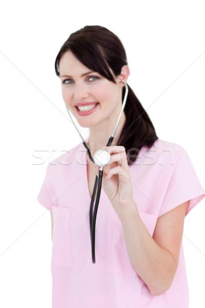 Portré tolakodó nővér tart sztetoszkóp fehér Stock fotó © wavebreak_media