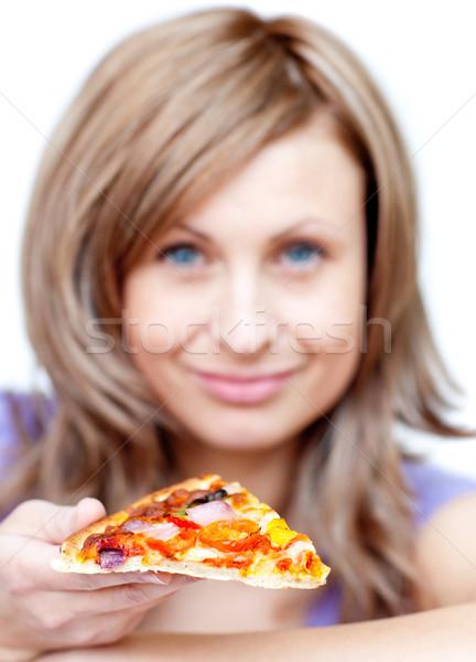 Aantrekkelijke vrouw pizza witte voedsel gezondheid Stockfoto © wavebreak_media