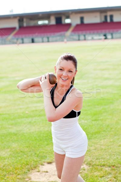 çekici kadın atlet ağırlık stadyum alan Stok fotoğraf © wavebreak_media