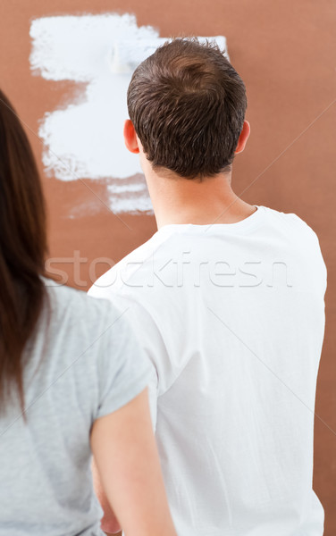 Rear view of a man painting a wall in white Stock photo © wavebreak_media