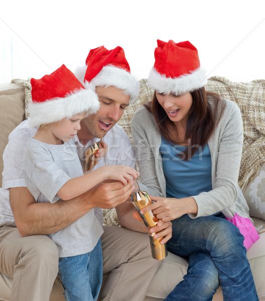 Stockfoto: Gelukkig · ouders · opening · samen · sofa · familie