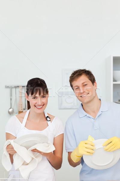 Liefhebbers afwas samen keuken vrouw water Stockfoto © wavebreak_media