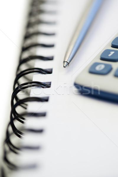 Spiral defter kalem cep hesap makinesi beyaz Stok fotoğraf © wavebreak_media