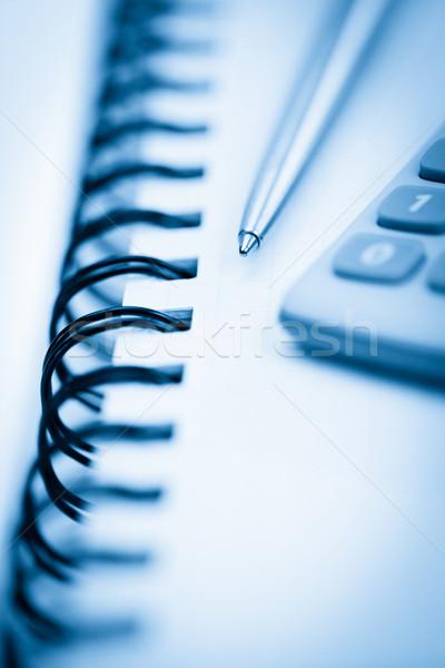 Spiraal notebook potlood zak calculator witte Stockfoto © wavebreak_media