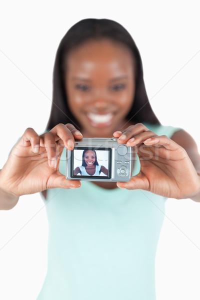 笑みを浮かべて 若い女性 画像 白 少女 ストックフォト © wavebreak_media