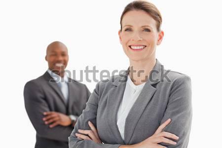 улыбаясь деловая женщина человека рук заседание Сток-фото © wavebreak_media