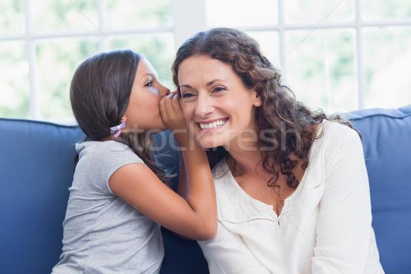 Anya lánygyermek suttog nappali nő család Stock fotó © wavebreak_media