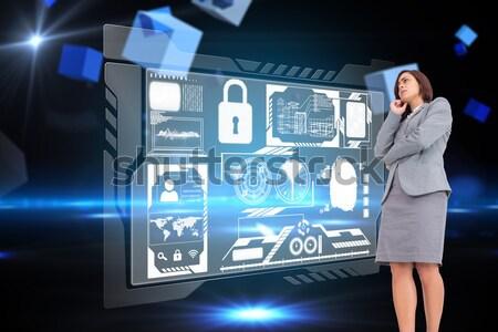 Heureux équipe commerciale utilisant un ordinateur portable sécurité interface composite numérique Photo stock © wavebreak_media