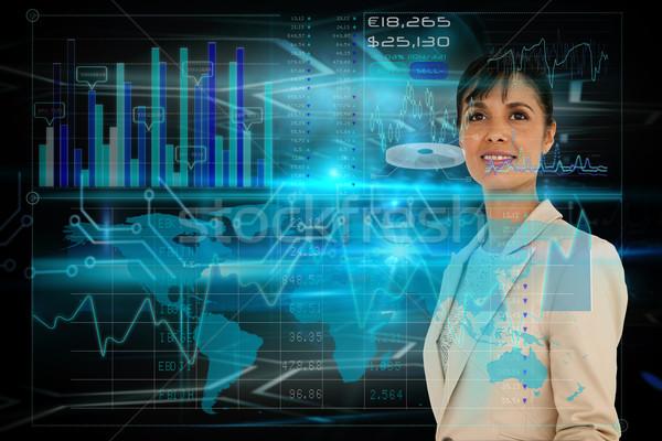 Kobieta interesu interfejs digital composite kobieta szczęśliwy projektu Zdjęcia stock © wavebreak_media