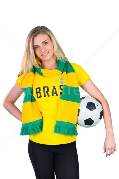 Bastante fútbol ventilador brasil camiseta blanco Foto stock © wavebreak_media