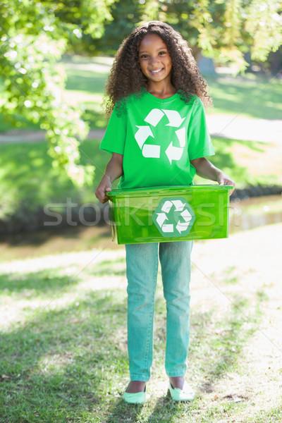 Fiatal környezeti aktivista mosolyog kamera tart Stock fotó © wavebreak_media