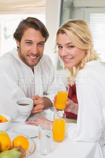 Sevimli çift kahvaltı birlikte gülen kamera Stok fotoğraf © wavebreak_media