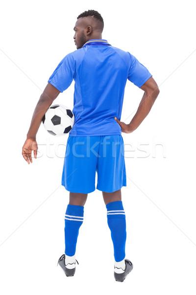Futballista kék áll labda fehér sport Stock fotó © wavebreak_media