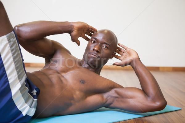Izmos férfi abdominális tornaterem portré sport Stock fotó © wavebreak_media