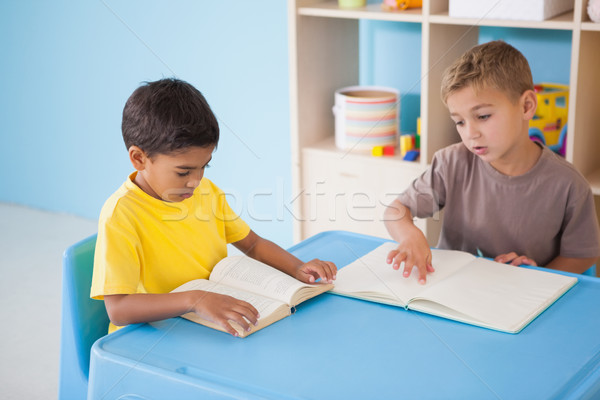 Cute little boys reading at desk in classroom Stock photo © wavebreak_media