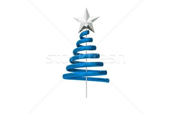 Azul árbol de navidad espiral diseno blanco Foto stock © wavebreak_media
