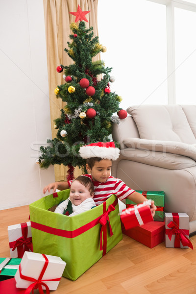 Cute boy and baby brother at christmas Stock photo © wavebreak_media