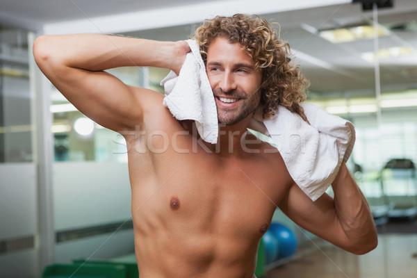 счастливым рубашки человека Постоянный спортзал молодым человеком Сток-фото © wavebreak_media