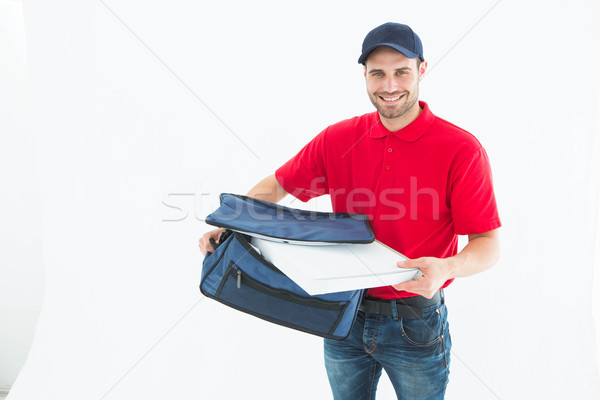Caixa de pizza saco retrato feliz branco Foto stock © wavebreak_media