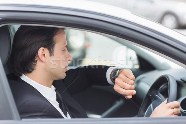 Zakenman zitting auto man tijd corporate Stockfoto © wavebreak_media