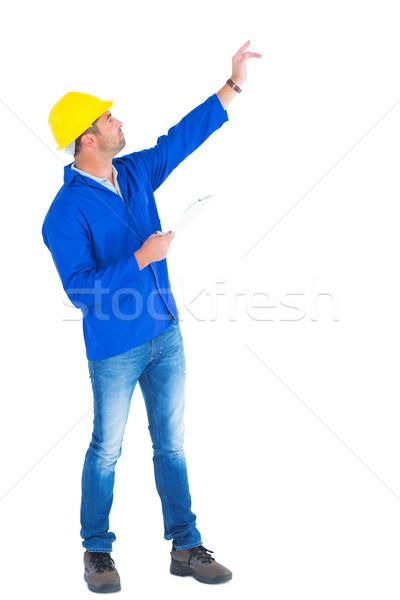 Felügyelő kéz kiemelt tart vágólap teljes alakos Stock fotó © wavebreak_media