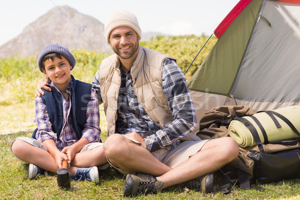 Father and son beside their tent Stock photo © wavebreak_media