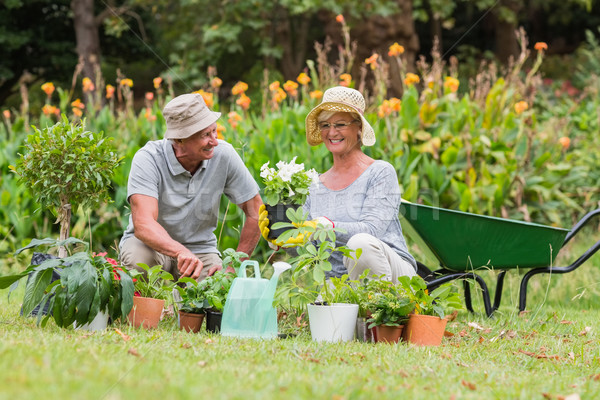 Heureux grand-mère grand-père jardinage femme Photo stock © wavebreak_media