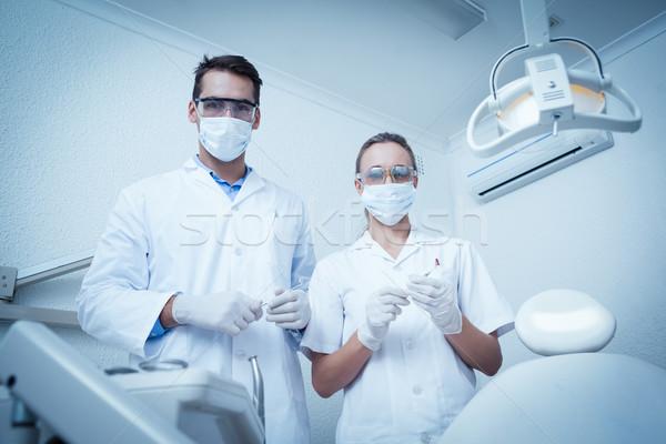 Portret tandartsen chirurgisch maskers mannelijke Stockfoto © wavebreak_media