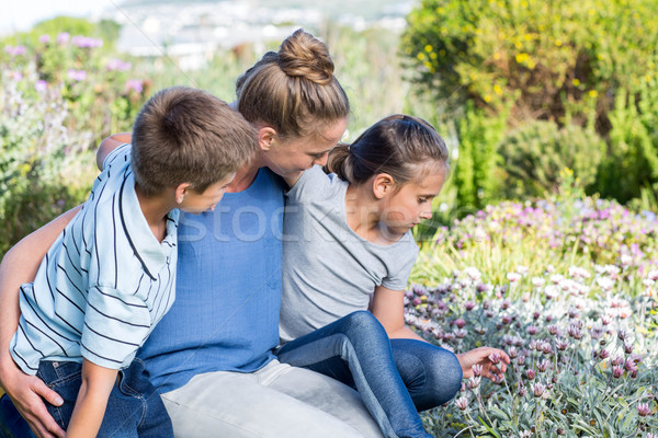 Stock photo: Mother and children tending to flowers