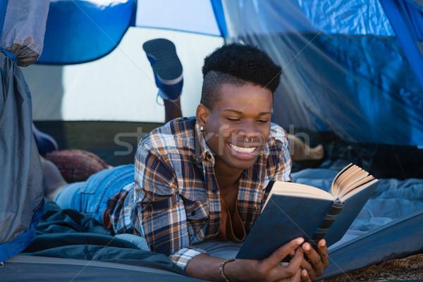 男 読む 図書 テント 若い男 芸術 ストックフォト © wavebreak_media