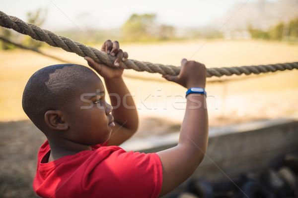 определенный мальчика веревку загрузка лагерь Сток-фото © wavebreak_media