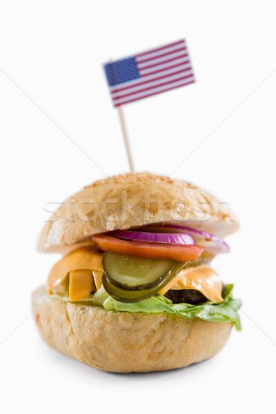 чизбургер американский флаг белый лист флаг Сток-фото © wavebreak_media