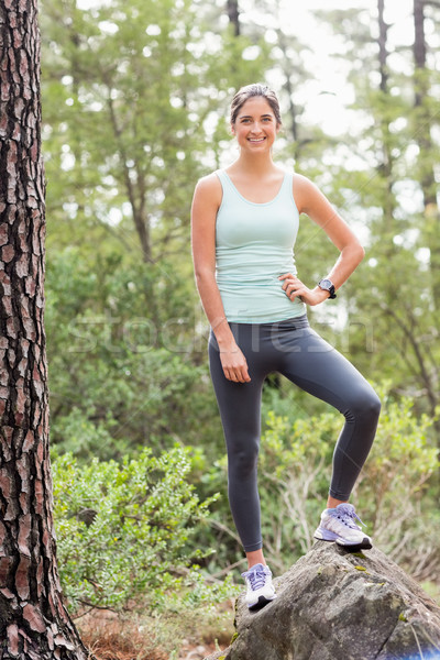 Mutlu jogging yapan bakıyor kamera doğa kadın Stok fotoğraf © wavebreak_media