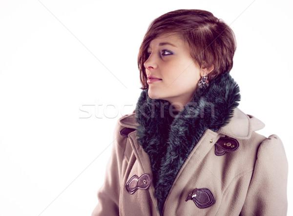 Atrakcyjna kobieta ciepły płaszcz uśmiechnięty kobieta Zdjęcia stock © wavebreak_media