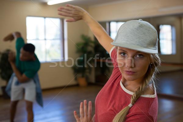Portrait of female dancer with friend practicing Stock photo © wavebreak_media