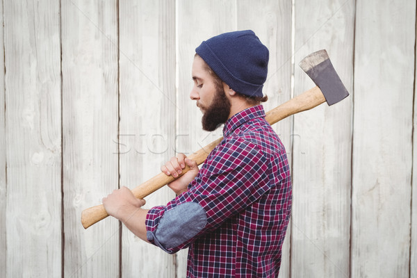 Zijaanzicht bijl houten hek man Stockfoto © wavebreak_media
