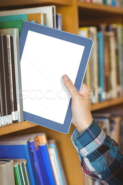 Estudantes mão tabela prateleira de livros universidade feliz Foto stock © wavebreak_media