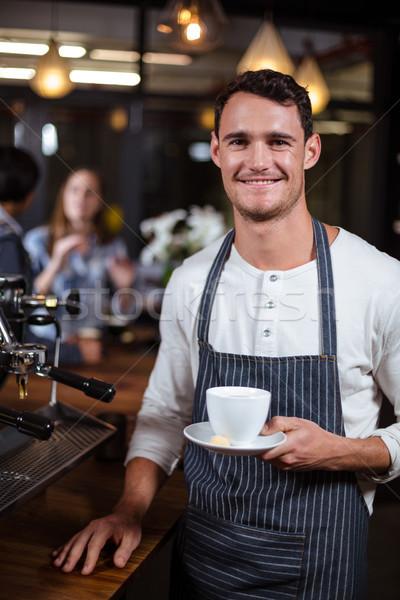 Glimlachend barista bar voedsel Stockfoto © wavebreak_media