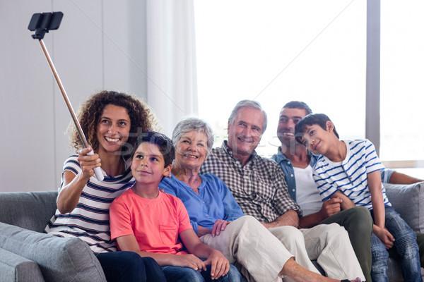 Happy family taking a selfie in living room Stock photo © wavebreak_media
