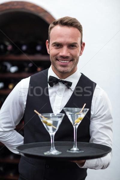 официант лоток коктейли коммерческих кухне человека Сток-фото © wavebreak_media