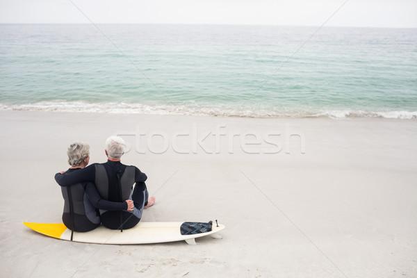 Hátsó nézet pár ül szörfdeszka tengerpart nő Stock fotó © wavebreak_media