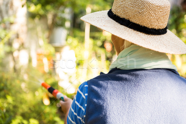 Rear view of gardener watering from hose at garden Stock photo © wavebreak_media