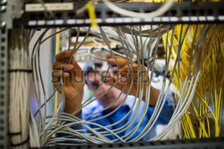 техник кабеля внимательный сервер комнату Сток-фото © wavebreak_media