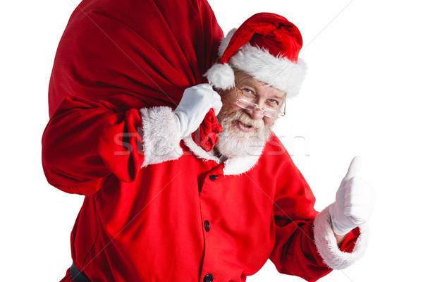 Stock fotó: Portré · mikulás · tart · karácsony · táska · gesztikulál