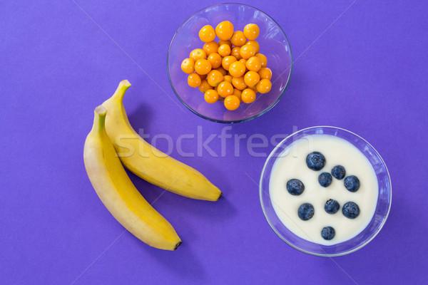 банан здорового завтрак Purple фитнес фрукты Сток-фото © wavebreak_media
