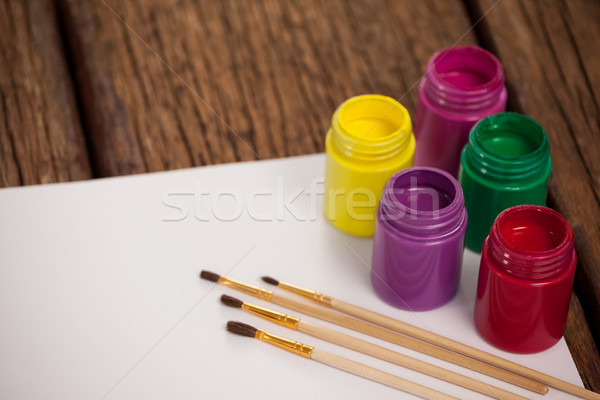 Pintura acuarela blanco papel mesa de madera madera Foto stock © wavebreak_media