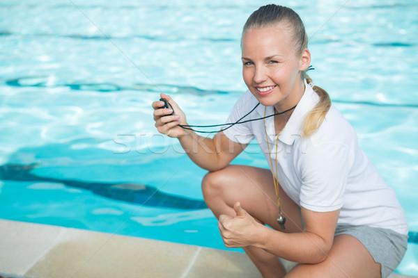 Ritratto nuotare coach cronometro Foto d'archivio © wavebreak_media